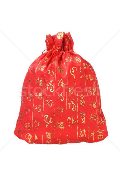 Kínai új év pénz táska fehér piros tárgy Stock fotó © dezign56