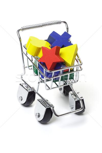 Fa játék kockák bevásárlókocsi mini fehér épület Stock fotó © dezign56