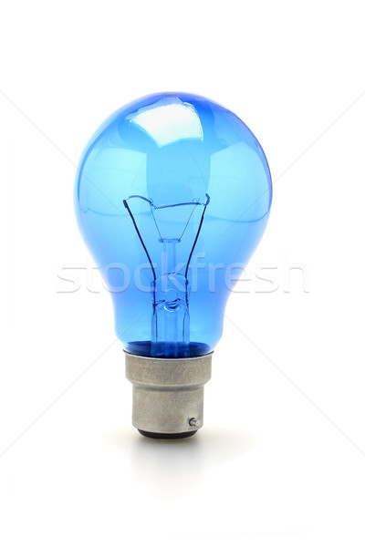 Mavi tungsten ampul parlak ayakta beyaz Stok fotoğraf © dezign56