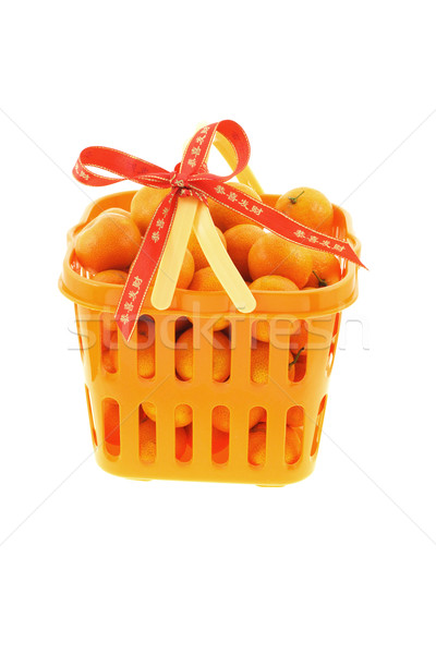 Kínai új év ajándékkosár tele mandarin narancsok díszített Stock fotó © dezign56