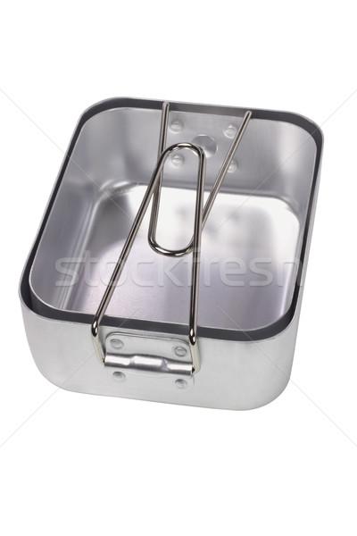 Bałagan aluminium gotowania wojskowych kemping pojemnik Zdjęcia stock © dezign56
