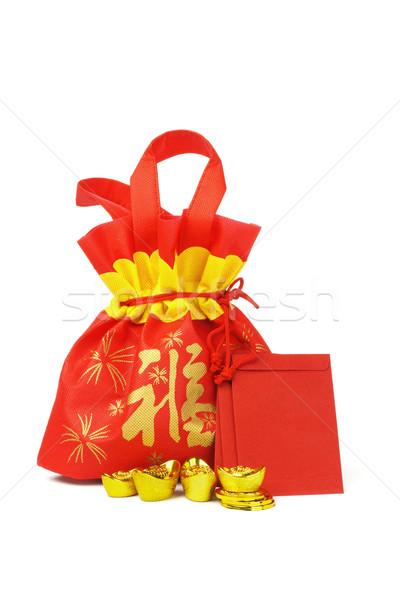 Китайский Новый год подарок сумку украшения красный золото Сток-фото © dezign56