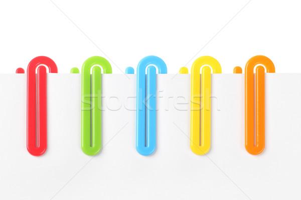 Kleurrijk plastic papier rij kantoor tool Stockfoto © dezign56