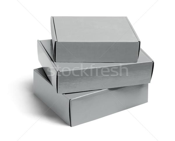 Három karton dobozok boglya fehér ipari Stock fotó © dezign56