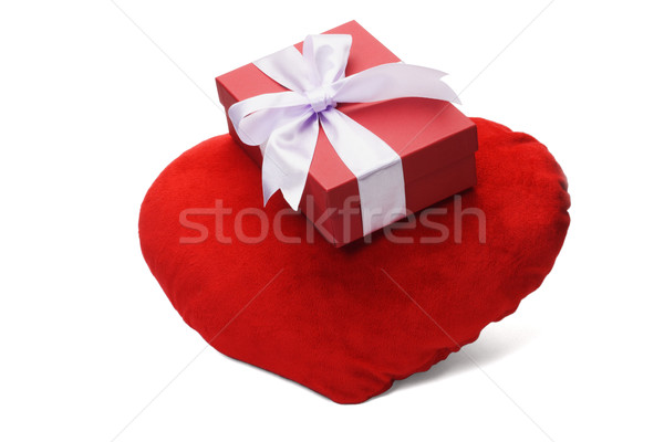 Gift Box And Heart Shaped Cushion Stock photo © dezign56