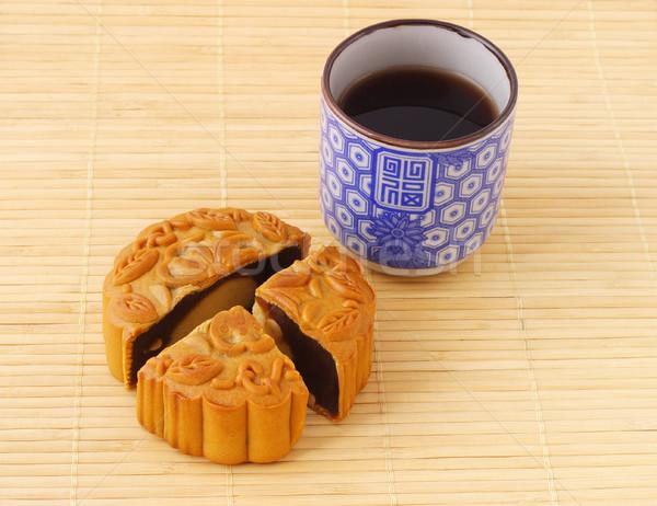 Kínai teáscsésze bambusz torta zöld ital Stock fotó © dezign56