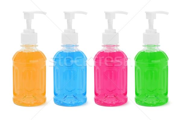 Foto stock: Líquido · sabão · colorido · plástico · garrafas · branco