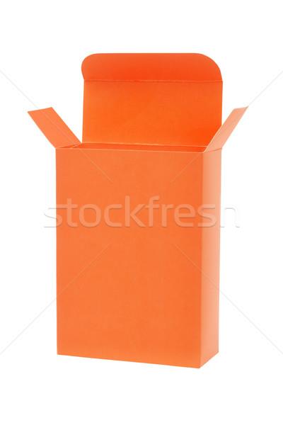 Narancs ajándék doboz fehér szín ajándék ajándék Stock fotó © dezign56