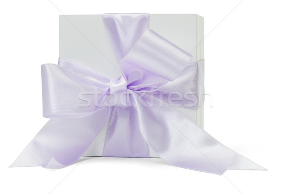 Gift box with large purple ribbon  Stock photo © dezign56