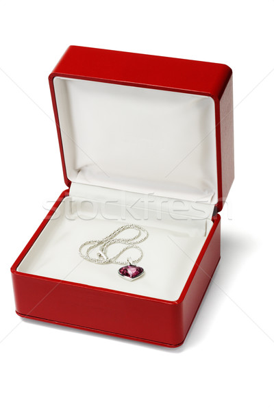 Red gemstone necklace in jewelry box  Stock photo © dezign56