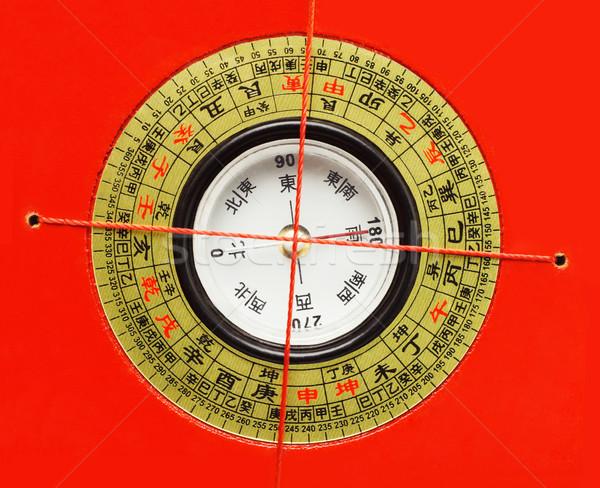 Chińczyk feng shui kompas czerwony projektu podpisania Zdjęcia stock © dezign56