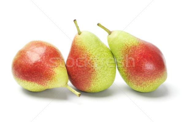 Három körték bőrpír csetepaté fehér gyümölcs Stock fotó © dezign56