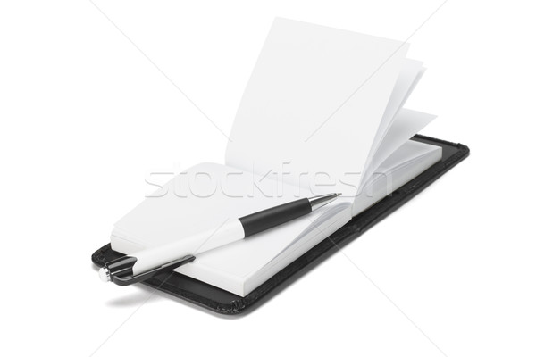 Ballpoint pen on open note pad  Stock photo © dezign56