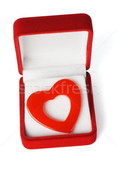 Hediye sevmek kalp şekli simge kırmızı takı Stok fotoğraf © dezign56