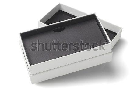 Siyah hediye kutusu açmak beyaz hediye sunmak Stok fotoğraf © dezign56
