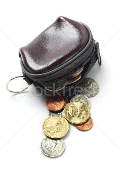 Pelle borsa monete bianco soldi tessuto Foto d'archivio © dezign56