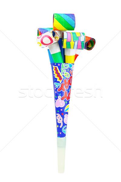Fête corne à l'intérieur papier blanche groupe Photo stock © dezign56
