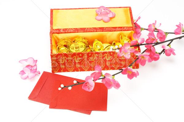 Kínai új év ajándék doboz piros díszek fehér pénz Stock fotó © dezign56