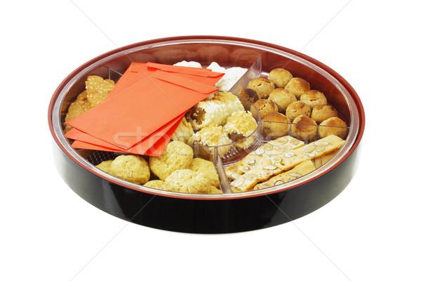 Cookies Rood geschenk dienblad chinese Stockfoto © dezign56