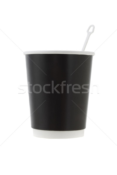 Black coffee cup with stirrer Stock photo © dezign56