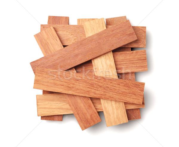 Fa darabok fehér építkezés csoport padló Stock fotó © dezign56