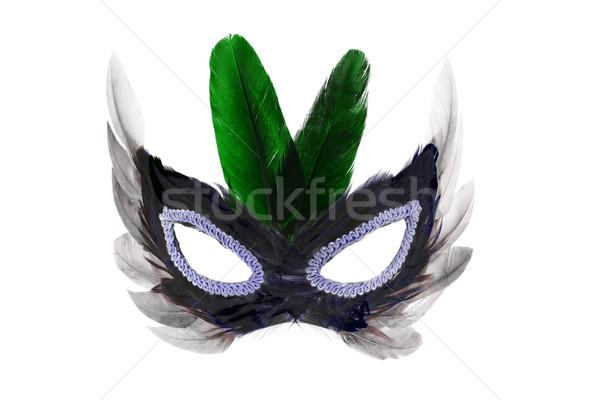 Buli arc maszk díszített tollak fehér Stock fotó © dezign56