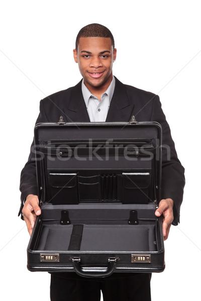 Sorridente africano americano empresário isolado branco Foto stock © dgilder