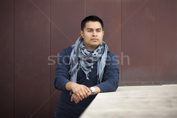 Spanyol férfi dől fal stock fotó Stock fotó © dgilder