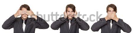 бизнесмен нет зла изолированный Сток-фото © dgilder
