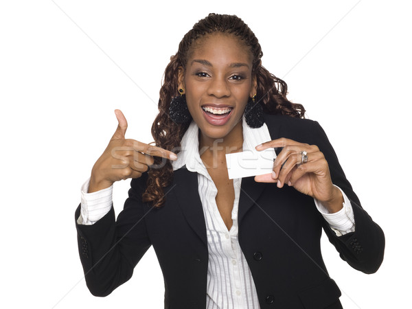 businesswoman - happy business card Stock photo © dgilder