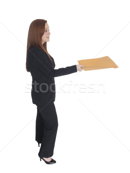Empresária carta entrega isolado Foto stock © dgilder