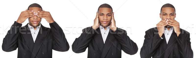 см. нет зла афроамериканец бизнесмен изолированный Сток-фото © dgilder