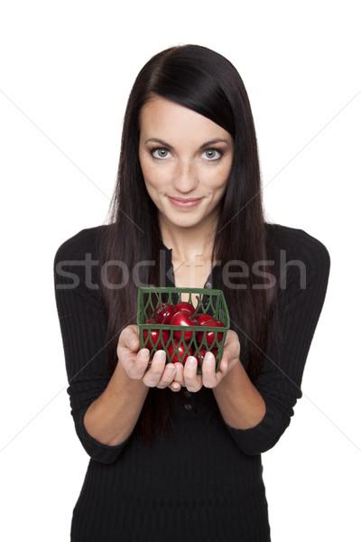 ストックフォト: 作り出す · フルーツ · 女性 · チェリー · 孤立した
