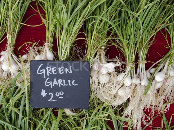 Produzir orgânico alho exibir agricultores mercado Foto stock © dgilder