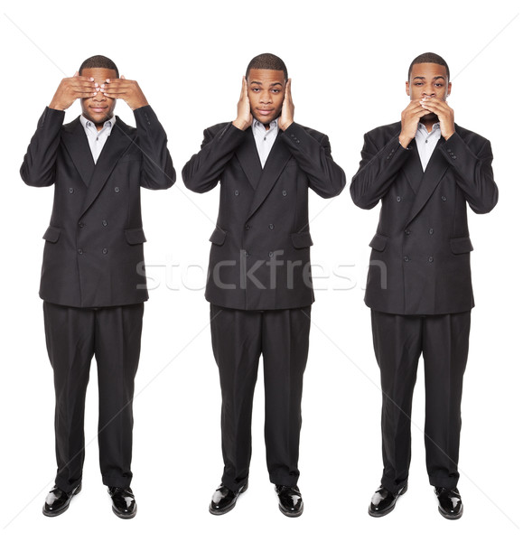 See No Evil poses - African American businessman isolated on whi Stock photo © dgilder