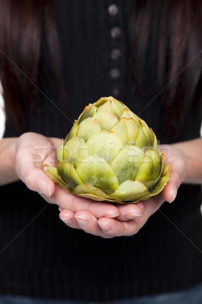 Produce - vegetable woman with artichoke Stock photo © dgilder