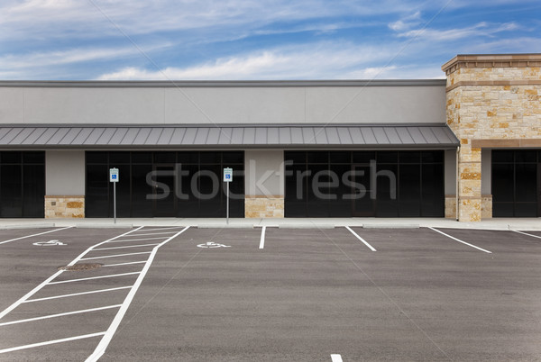 Strip Mall - Blank Signs and Parking Lot Stock photo © dgilder
