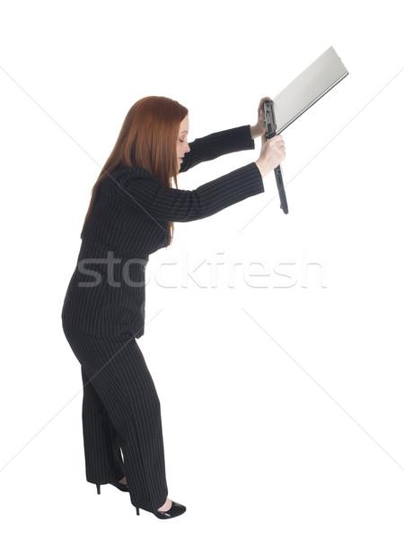 businesswoman - dumping laptop Stock photo © dgilder