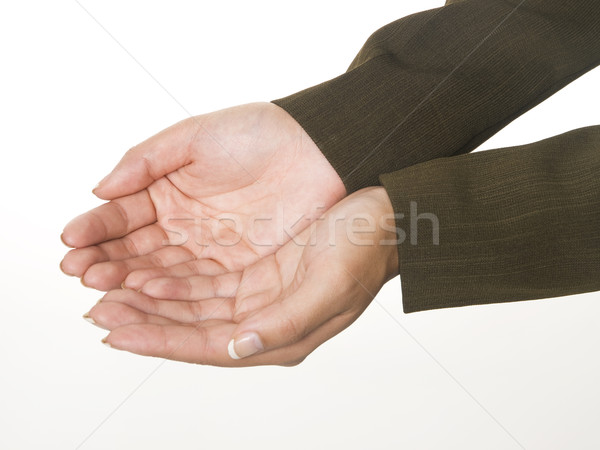 Stock photo: businesswoman - cupped hands
