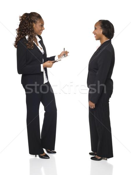 Wywiad formularza kobieta interesu w dół odpowiedzi Zdjęcia stock © dgilder