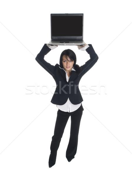 Empresária alto laptop isolado Foto stock © dgilder