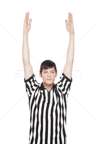 Young adult man in referee uniform making touchdown sign Stock photo © dgilder