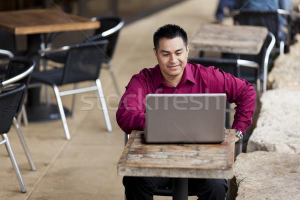 Koyu esmer işadamı evden çalışma Internet kafe stok Stok fotoğraf © dgilder