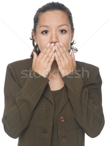 Stock fotó: üzletasszony · beszéd · nem · gonosz · izolált · stúdiófelvétel