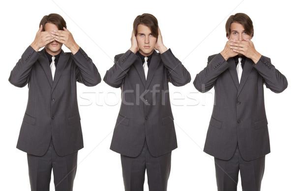 üzletember beszéd nem gonosz izolált stúdiófelvétel Stock fotó © dgilder