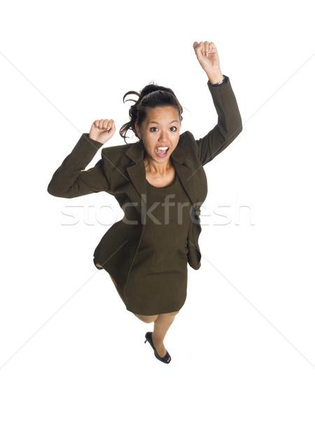 businesswoman - jump for joy Stock photo © dgilder