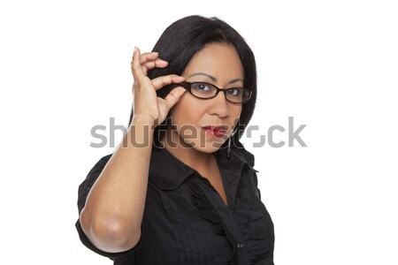 Businesswoman - Latina adjusting her glasses Stock photo © dgilder
