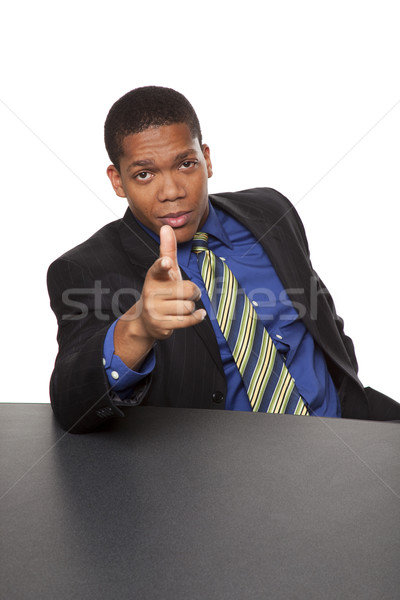 üzletemberek mutat izolált stúdiófelvétel üzletember néz Stock fotó © dgilder