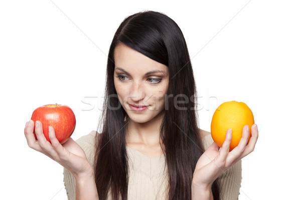 ストックフォト: 作り出す · リンゴ · オレンジ · 女性 · 孤立した