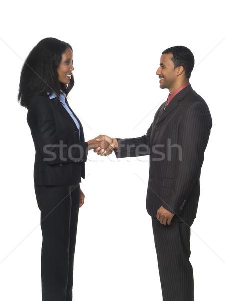 üzletemberek kézfogás üdvözlet izolált stúdiófelvétel üzletasszony Stock fotó © dgilder